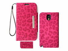 Pink Leopard Wallet Purse PU Leather Case Samsung Galaxy Note 3 III N9000