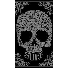 Serviette Drap de plage Crâne tête de mort noir et gris en Jacquard