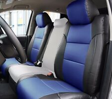 TOYOTA TUNDRA 2014-2016 BLACK/BLUE S.LEATHER CUSTOM MADE FIT FRONT SEAT COVER