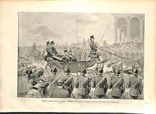 Alexander I King of Serbia in Rome Italy Umberto I King GRAVURE PRINT 1896