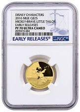 2016 Niue $25 1/4 oz Gold Disney Mickey Brave Little Tailor NGC PF70 ER SKU42792