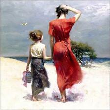 """Pino """"Afternoon Stroll"""" Mom daughter beach stroll Embellished Canvas HS# 12x12"""