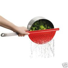 Trudeau Pot Pan Drainer Strainer Red Colander Kitchen Cooking Home