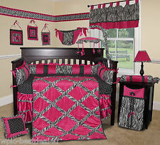 Baby Boutique - Hot Pink Zebra - 15 pcs Nursery Crib Bedding Set