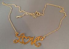 collier rétro couleur or poli brillant inscription LOVE 4759