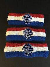 Pabst Blue Ribbon PBR Beer Headband Embroidered ~ Set of Three (3) ~ NEW & F/Sh