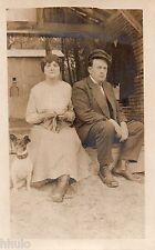 BJ690 Carte Photo vintage card RPPC couple chien dog Provincial casquette