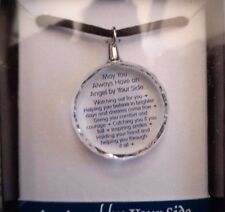 """ANGEL BY YOUR SIDE... MESSAGE BLUE MOUNTAIN CRYSTAL PENDANT NECKLACE 17"""""""