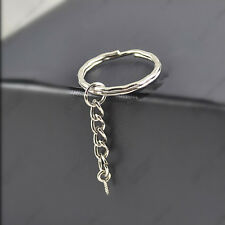 Lot 10 Pcs ginning keyrings with Chains and screw Key Rings DIY Pendant Parts