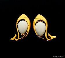 Rar!!! BLANCHE CREATEUR trifari sign. oreilles Boucles d'oreilles, Orecchini, fish earrings