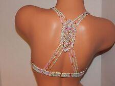 Victoria's Secret The Fabulous paisley/foil halter bikini top~macrame back 34B