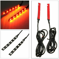 2x Universal Amber 6 LED Motorcycle Strip Turn Signal Indicator Blinker Light