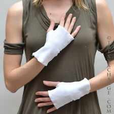 1097 White Cotton Fingerless Gloves Cut Out Thumbs Smoking Texting Cycling Biker