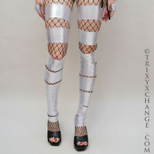 1018 Silver Shiny Cut Out Leg Warmers Spandex Leggings Cover Anime Costume UV
