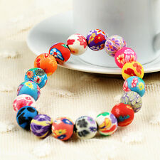 NEW Jewelry Fashion Polymer Clay Flower Pattern Beaded Women Charm Bracelet
