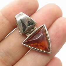 Vtg 925 Sterling Silver Real Amber Gemstone Triangle Slide Pendant