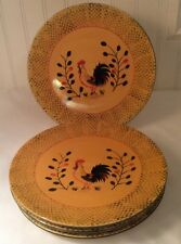 Set Of 4 Pacific Rim China Rooster Dinner Plates