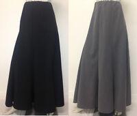 NEW WOMEN FULL LENGTH BLACK GREY LONG PANEL MAXI SKIRT UK 12 14 16 18 20 22