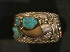 Sterling Tourquoise Cuff Bracelet M.Thomas Jr. Navajo signed Yellowhorse #0177