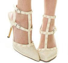 New Cream Beige Pointy Toe Stud Ankle T Strap Stiletto High Heel Pump sandal 8