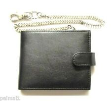 Mens Chain Wallet Leather With Coin And Card Sections Black Gents Mans