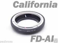 Macro Canon FD Lens to Nikon FD-AI Ring Adapter Mount  Adapter No Glass FD AI