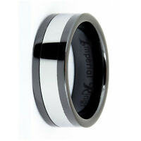 BLACK CERAMIC MEN'S WEDDING BAND/PROMISE RING  TUNGSTEN INLAY SIZE 7-12 TUNGSTIN