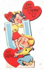 "Vtg 1940's Moving Arm ""I'VE TAKEN A SHINE TO U"" Valentine Day Card"