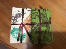 Craft Bundle Of 5 Flannel Cotton FQ, Owl Design, Soft Fabric