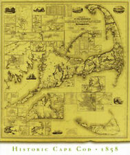 Historic CAPE COD 1858 Wall Map Poster Print (Nantucket, Dukes, Barnstable MA)