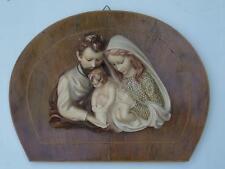 Icona metà900 scultura gesso legno Sacra Famiglia Madonna S Giuseppe Bambin Gesù