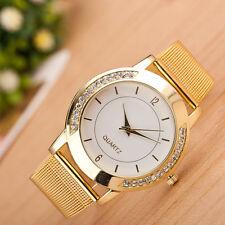 New Moda mujer oro cristal acero inoxidable cuarzo analógico reloj de pulsera ES