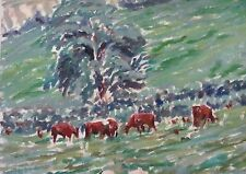 GREVILLE IRWIN - CATTLE FORAGING - LISTED ARTIST OIL - C.1930 - FREE SHIP!