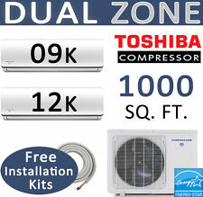 ENERGY STAR 21000 BTU Dual Zone Ductless Split Air Conditioner Heat 12000 + 9000