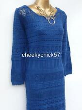 BNWT Monsoon Blue Crochet Dress - Size XL 20-22 - Boho Vintage