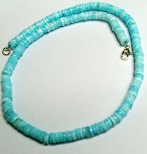 Peruvian blue opal heishi rondelle beads strand necklace 6to7mm 17inch 130carat