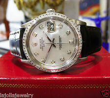 Mens Vintage ROLEX Oyster Perpetual Date 34mm Mother of Pearl Diamond Watch