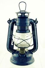 BLUE hurricane LED 7 1/2 in lamp emergency light lantern hanging antique rustic