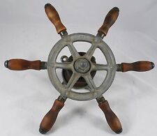 "Antique Steel 12"" Ship wheel mahogany handles, Wilcox Crittenden, nautical decor"