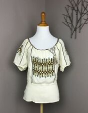 C.Keer Anthropologie Ivory Embroidered Cotton Gauze Blouse M