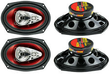 """4) New BOSS Chaos CH6940 6x9"""" 500W 4-Way Car Coaxial Audio Stereo Speakers Red"""