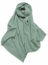 Gray Green 100% Pure Wool Warm Soft Pashmina Wrap Winter Scarf