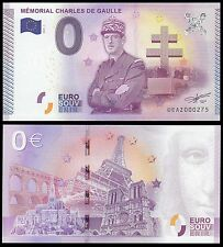 French Memorial (0) Zero Euro Banknote, 2015, UNC, Charles De Gaulle Remembrance