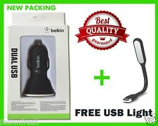Combo Universal Belkin Dual 2 Port USB Car Charger Flexible LED Light Lamp Free
