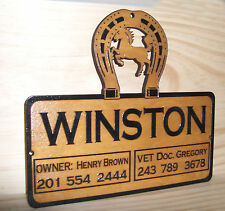 Personalized WOODEN Horse Stall Barn Name Plate Sign .BIRCH.ENGRAVED.GIFT.