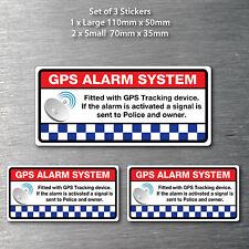 GPS alarm system tracking stickers 3 pack 1 x 100mm & 2 x 70mm free post