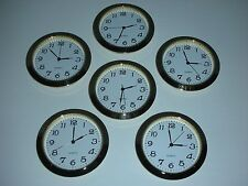"6 PACK, 2-1/8""(55MM) PREMIUM QUARTZ CLOCK Insert, Gold Bezel, Metal Case, Arabic"