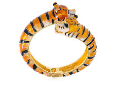 Golden Toned Metal Alloy Orange Blk Cream Enamel Twin Tiger Cuff Bangle Bracelet