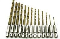 13pcs High-speed steel Hammer Drills Hex Shank Drill Bits Set Screwdrivers Drill