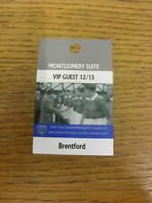 06/11/2012 Ticket: Portsmouth v Brentford [Montgomery Suite VIP Guest Pass] . Th